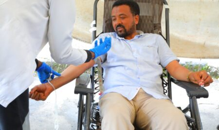 A second round of blood donation was underway at Emperor Tewodros campus